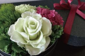 ラウンドボックス プリザーブドフラワー ボックスフラワー バラ スカビオサ ギフト プレゼント 贈り物 お花