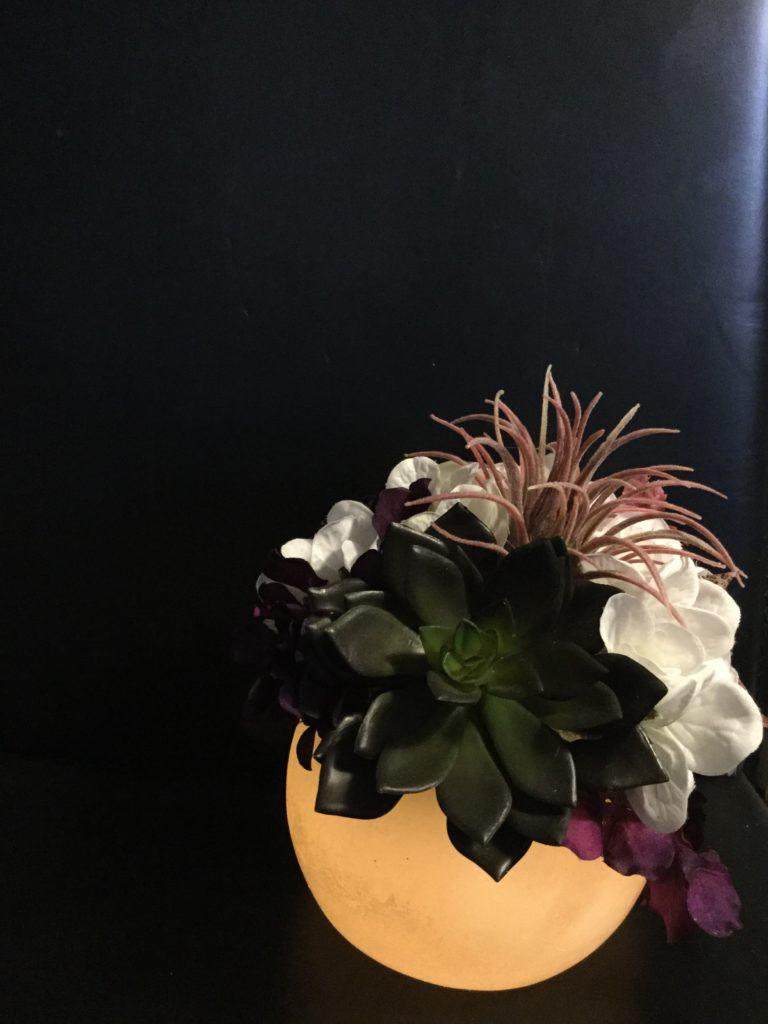LEDキャンドルアレンジメント 多肉植物 アジサイ 暖かい コロン 安全なキャンドル アーティフィシャルフラワー
