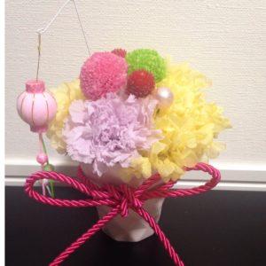 ひな祭り ピンポンマム プリザーブドフラワー ひな祭り飾り アジサイ 置物 黄色 ピンク