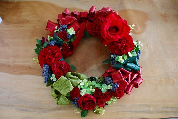 アーティフィシャルフラワー,リース,赤い花,赤いリース,新潟市,新潟市中央区,お花の教室