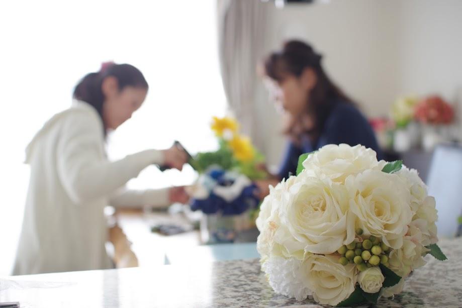 フラワーアレンジメント教室,レッスン風景,プリザーブドフラワー,アーティフィシャルフラワー,新潟