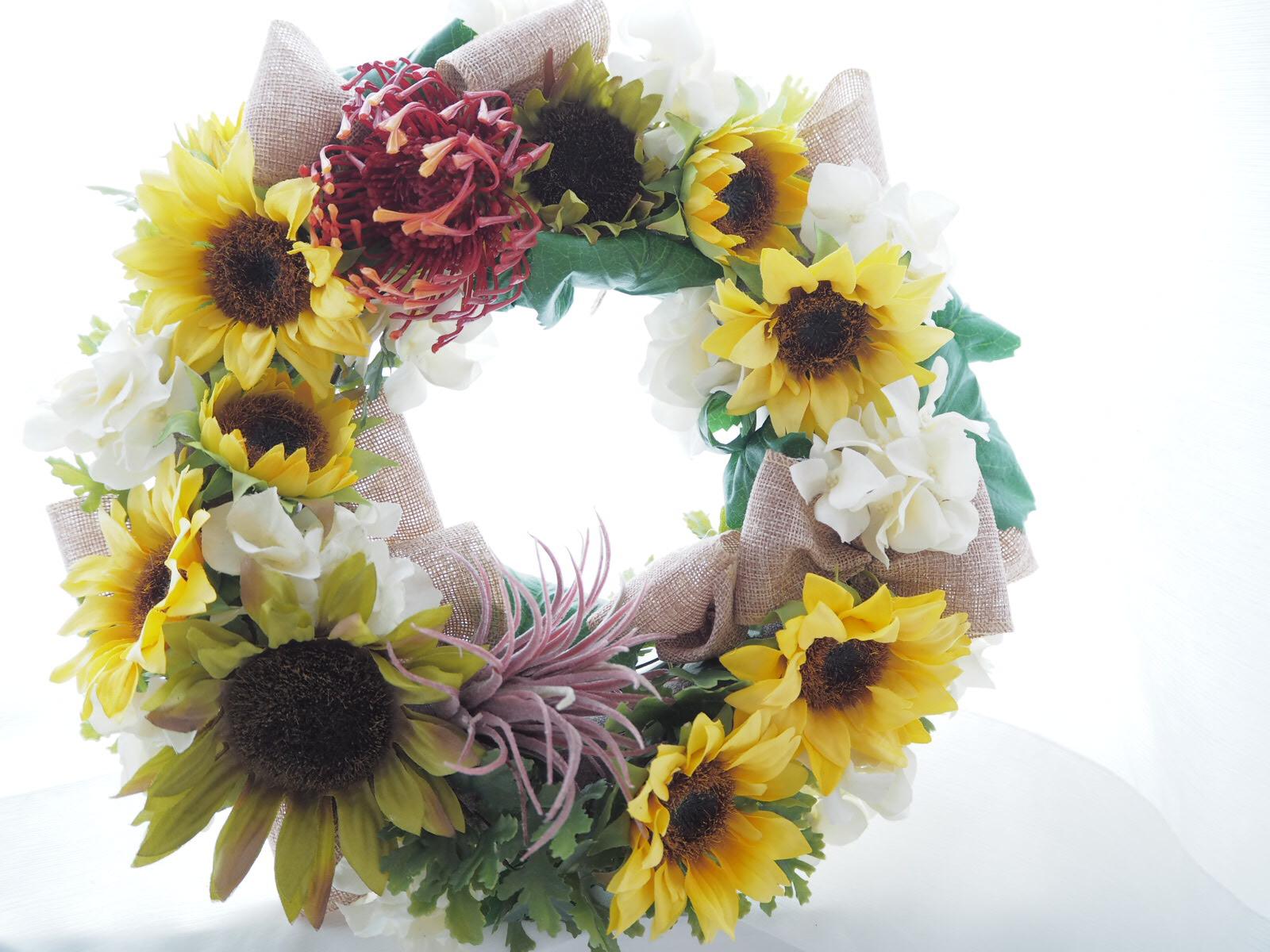 ひまわり,ひまわりリース,サマーリース,夏のリース,アーティフィシャルフラワー,高級造花