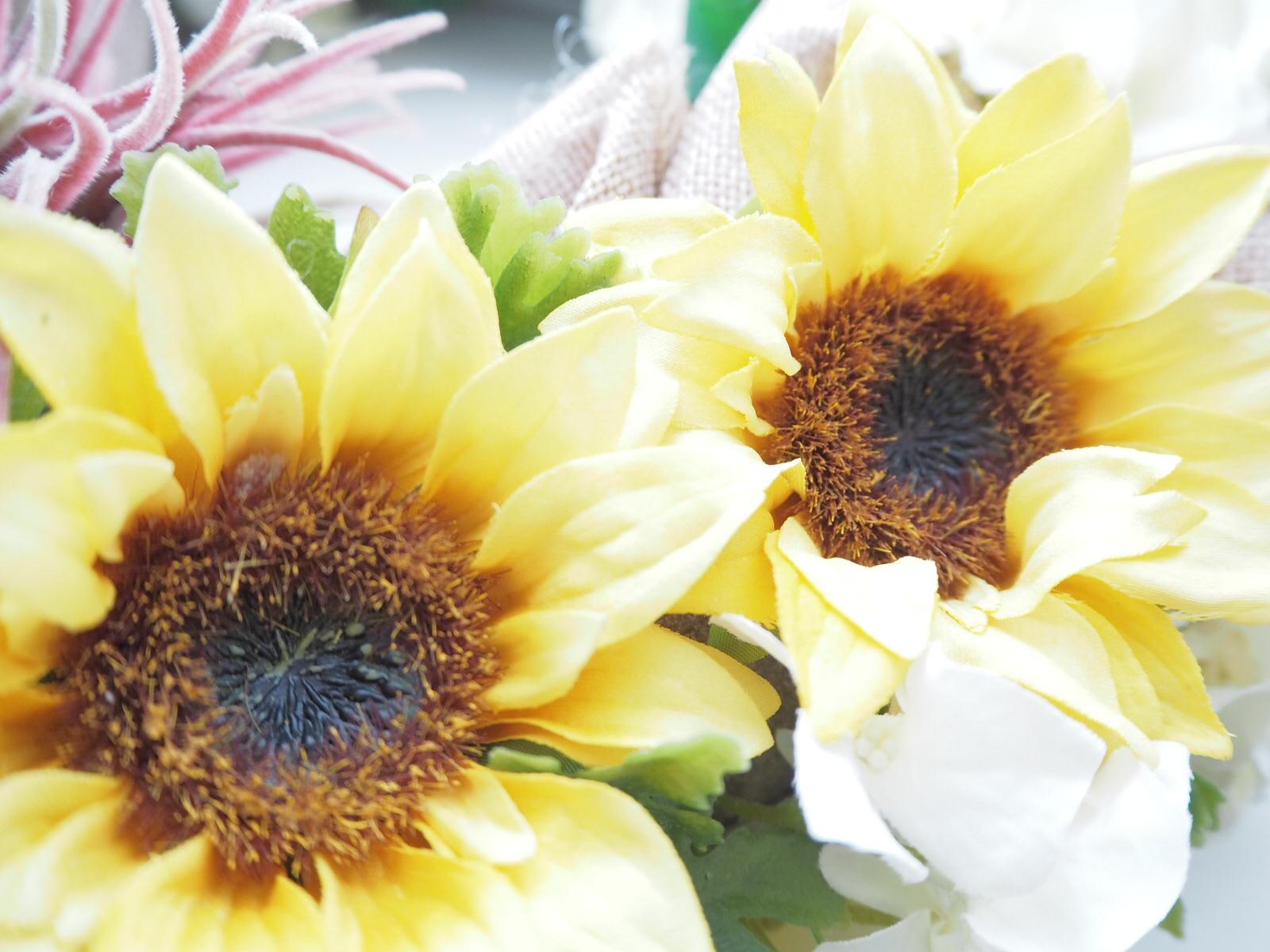 ひまわり.サンフラワー,黄色,夏,夏の花,夏休み,アーティフィシャルフラワー,リース