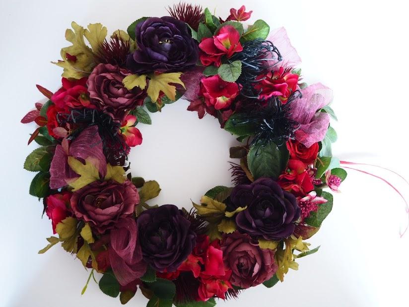 秋,リース,秋カラー,紫,花,秋色リース,赤,アーティシャルフラワー,フラワーアレンジメント
