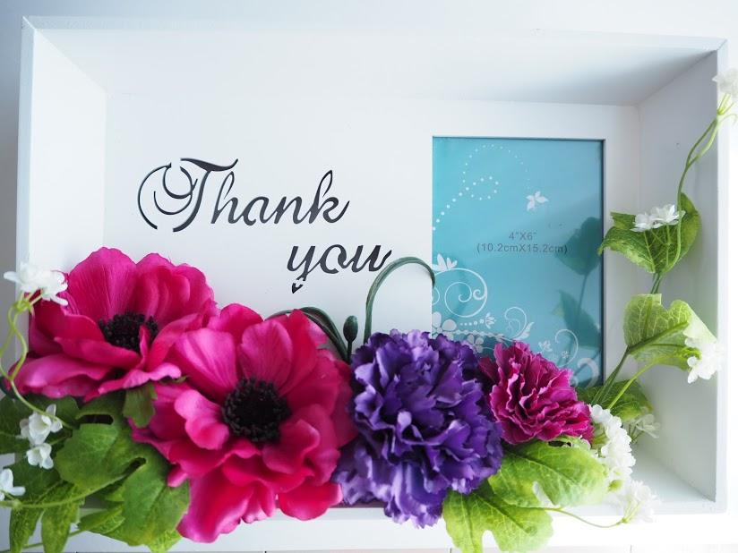 感謝,thank you,写真,photo,フォトフレーム,花,アーティシャルフラワー,アネモネ,カーネーション