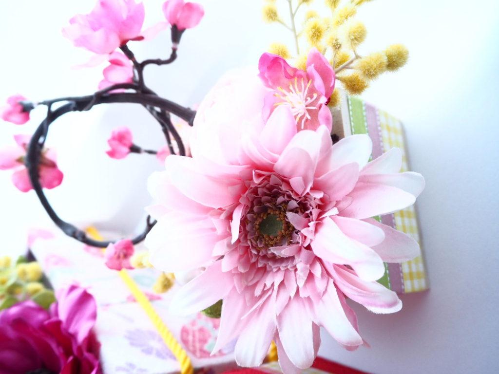 ひな祭り,デュボンタン,フラワーアレンジメント,和風アレンジ,桃の節句,ガーベラ
